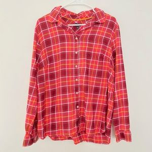 Talbots XL Plaid Button Up Long Sleeve Red Shirt